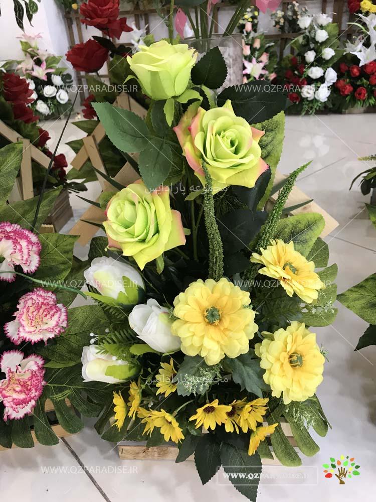 سبد گل مصنوعی بسیار زیبا از رز های زرد و ژربرا گل مصنوعی