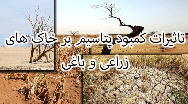 تاثیرات مستقیم کمبود پتاسیم در حرکت خاک مخصوصا خاک های رس در زمین های زراعی و باغی.