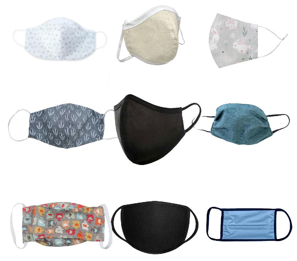 چند نمونه از ماسک پارچه ای موجود به منظور فروش با تعرفه دولتی